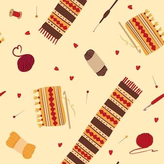 Dziewiarskie wełniane szaliki bezszwowe wzór zimowa dzianina z ludowymi ornamentami narzędzia rzemieślnicze