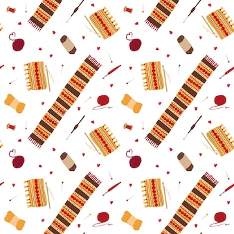 Dziewiarskie wełniane szaliki wzór. zimowe dzianiny z ornamentami ludowymi ręcznie rysowane ilustracji. narzędzia rzemieślnicze, szydełka, szpilki, kulki przędzy, szpulki do nici. projekt tapety