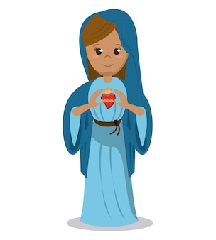 Dziewica maryja obraz poświęcony nabożeństwu świętego serca