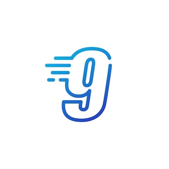 Dziewięć 9 cyfr kreska szybko szybki cyfrowy znak zarys linii logo wektor ikona ilustracja