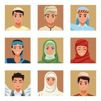 Dziewięć arabskich osób
