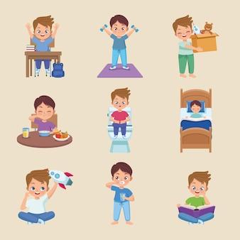 Dziewięć dzieci ćwiczących zajęcia
