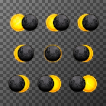 Dziewięć etapów zaćmienia z realistycznym księżycem satelitarnym i gwiezdnym słońcem na przezroczystym tle