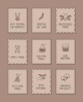 Dziewięć etykiet produktów ekologicznych