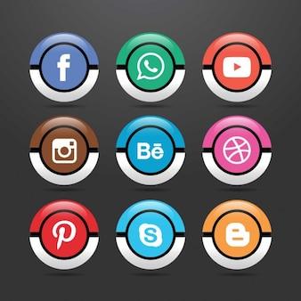 Dziewięć ikon dla sieci społecznych