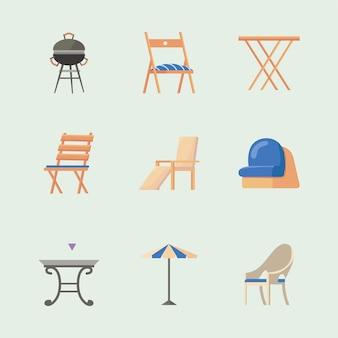 Dziewięć ikon mebli ogrodowych