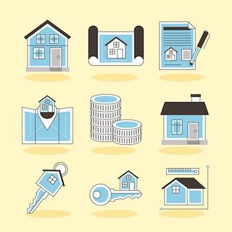 Dziewięć ikon nieruchomości