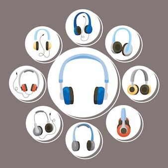 Dziewięć ikon urządzeń słuchawkowych