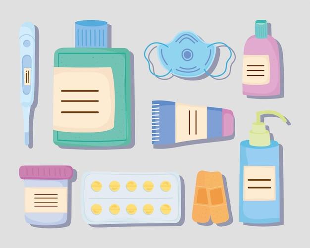 Dziewięć ikon zestawów leków