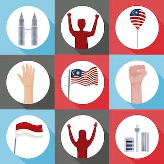 Dziewięć ikon zestawu celebracji malezji