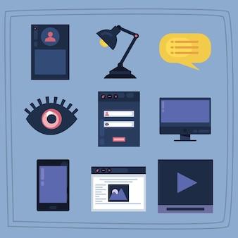 Dziewięć ikon zestawu do projektowania stron internetowych