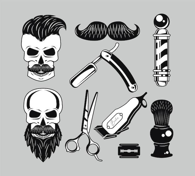 Dziewięć ikon zestawu fryzjerskiego