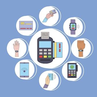 Dziewięć ikon zestawu płatności zbliżeniowych