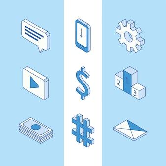 Dziewięć izometrycznych ikon mediów społecznościowych