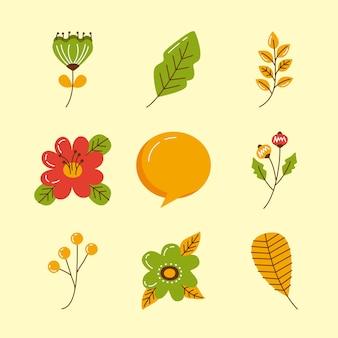 Dziewięć jesiennych zestawów ikon