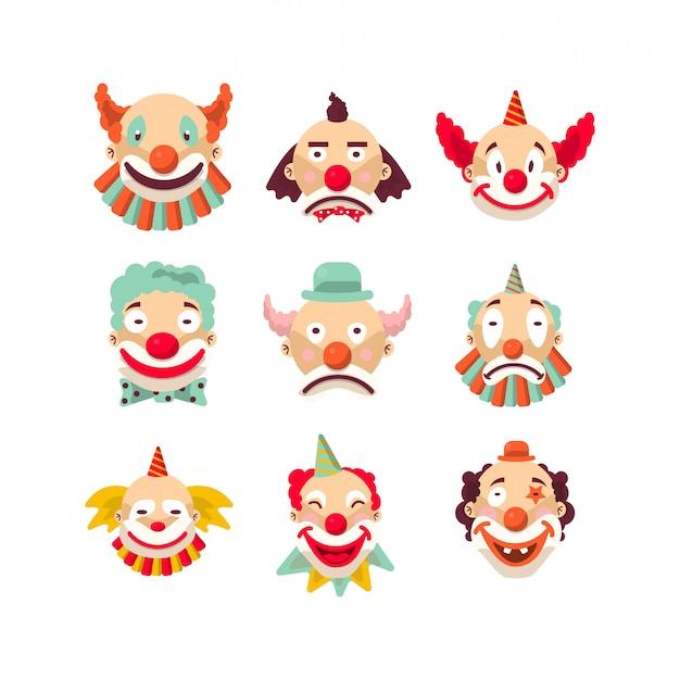 Dziewięć kolorowych emocjonalnych portretów klauna na białym