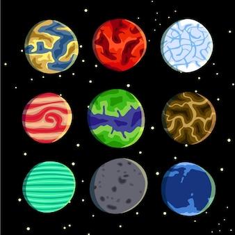 Dziewięć kolorowych realistycznych księżyców wektorowych planet w zestawie doskonałe do gier i wszelkich dostosowań
