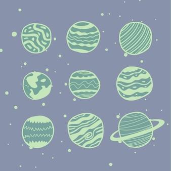 Dziewięć planet wektor w różnych stylach. doskonały do gier, liternictwa i wszelkich dostosowań.