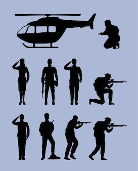 Dziewięć sylwetek oddziałów wojskowych
