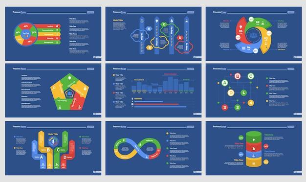 Dziewięć szablonów slajdów przepływu pracy