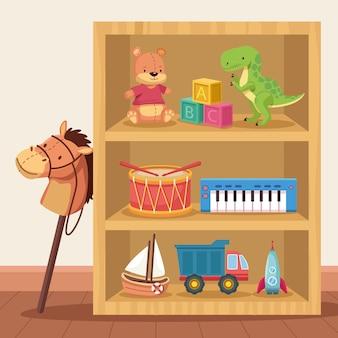 Dziewięć zabawek na półkach