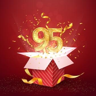 Dziewięćdziesiąt pięć lat numer rocznicy i otwarte pudełko z wybuchami konfetti na białym tle element projektu