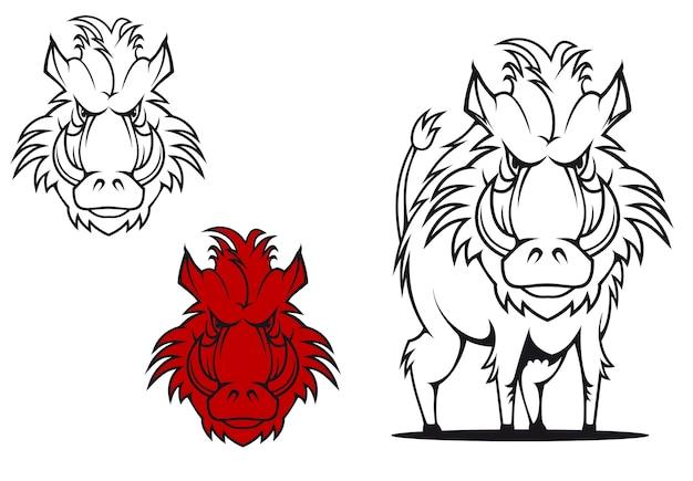Dzik w stylu cartoon jako tatuaż lub maskotka