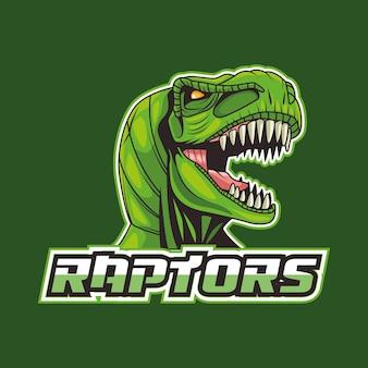 Dzika głowa zwierzęcia tyranozaura rex z raptors napis ilustracja