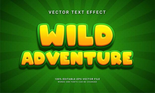 Dzika przygoda edytowalny efekt tekstowy o tematyce dzikiego życia