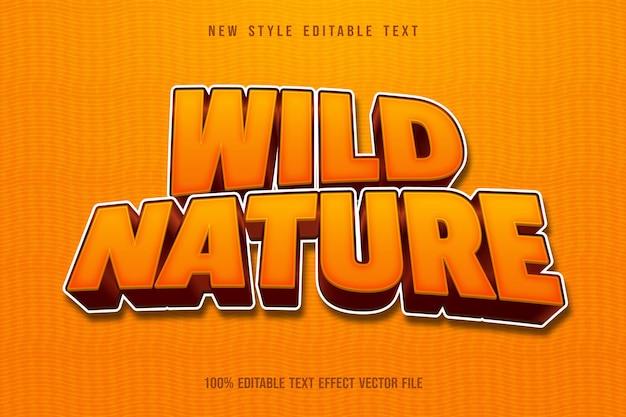 Dzika przyroda edytowalny efekt tekstowy w stylu kreskówki