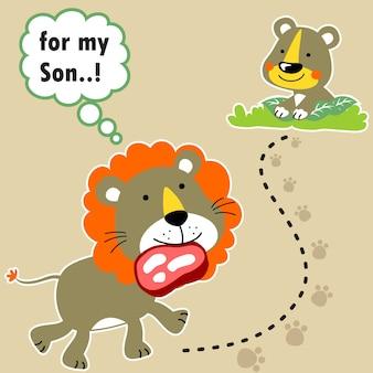 Dzika przyroda, rodzina lew, rysunek