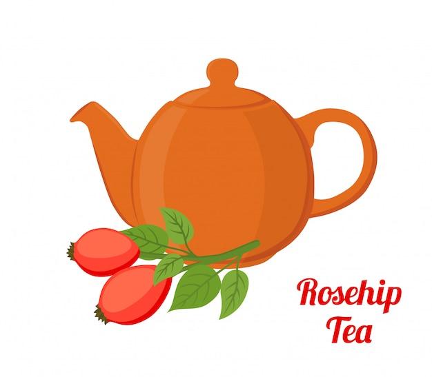 Dzika róża, herbata z wrzośca, czajnik z dzikiej róży. płaski styl kreskówki