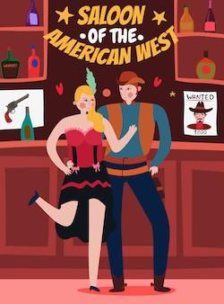 Dzika zachodnia ilustracja z tancerzem i kowbojem