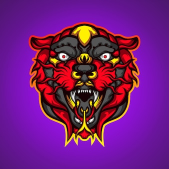 Dziki czerwony tygrys głowa gry maskotka logo wektor
