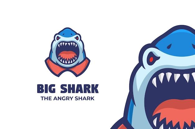 Dziki duży rekin maskotka ilustracja logo