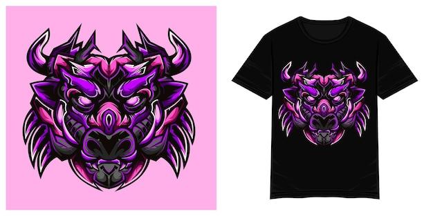 Dziki fioletowy byk wektor ilustracja tshirt