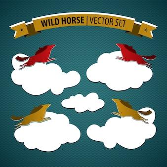 Dziki koń kolorowy na białym tle zestaw z wielobarwnymi końmi na chmurach