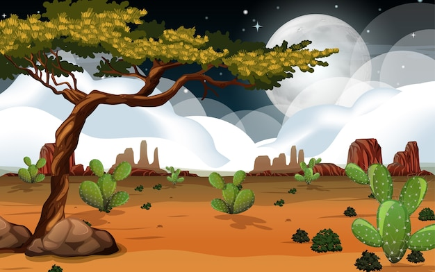Dziki krajobraz pustyni na scenie nocy