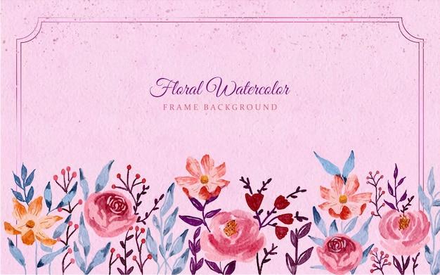 Dziki kwiatowy granica akwarela ręcznie malowany z tłem ramki