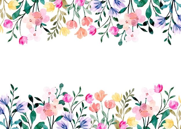 Dziki kwiatowy rama z akwarelą