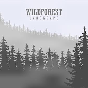 Dziki las iglasty tło. sosna, przyroda krajobrazowa, naturalna panorama drewna. szablon projektu kempingu na świeżym powietrzu. ilustracja wektorowa