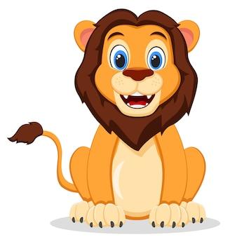 Dziki lew siedzi i uśmiecha się na białym. postać z kreskówki