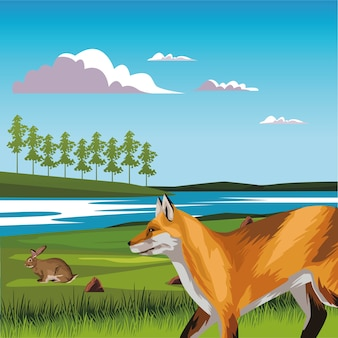 Dziki lis i królik w krajobrazowej scenie