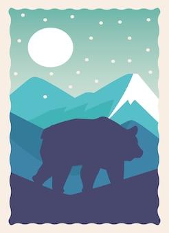 Dziki niedźwiedź bestia zwierzęca sylwetka z krajobrazem