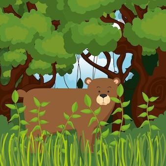 Dziki niedźwiedź grizzly na scenie dżungli
