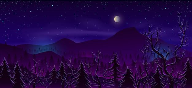 Dziki północnej ziemi noc krajobraz kreskówka