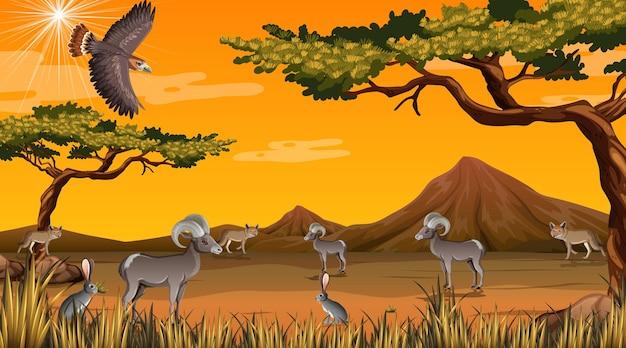 Dziki pustynny krajobraz w scenie dziennej