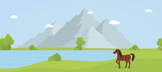 Dziki rezerwat przyrody płaska wektorowa ilustracja
