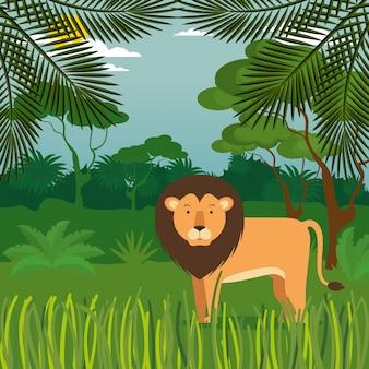 Dziki w scenie dżungli