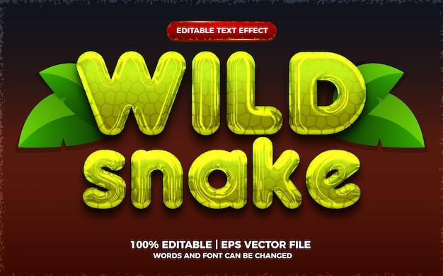 Dziki wąż zielony płynny 3d edytowalny efekt tekstowy